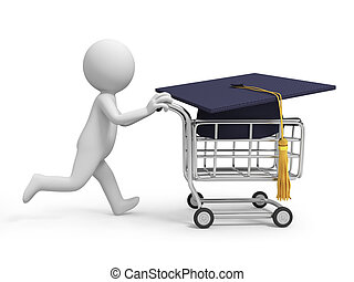 cap - A 3d person/a cap in the shopping cart