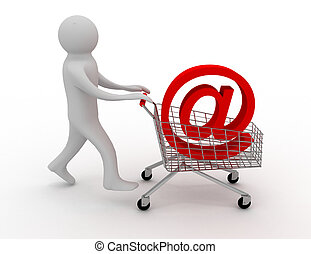 A 3d person/an internet symbol in the shopping cart