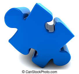 A 3d puzzle piece isolated on white