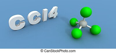 a 3d render of a carbon tetrachloride molecule