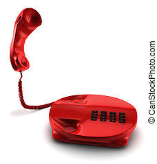 A 3D render of a red telephone isolated on white
