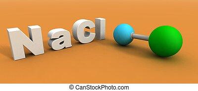 a 3d render of a sodium chloride molecule