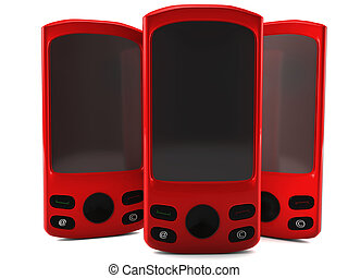 A 3D render of red cell phones isolated on white