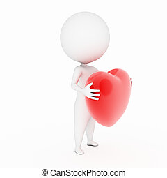 a 3d rendered illustration of a small guy with a heart