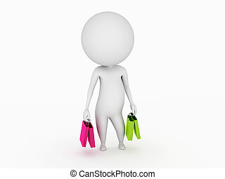 small guy with shopping bags