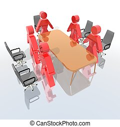 business meeting - a 3d rendering of a business meeting
