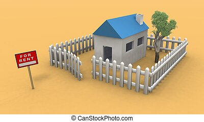 a 3d rendering of a house for rent