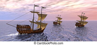 a 3d rendering of three vessels in the morning