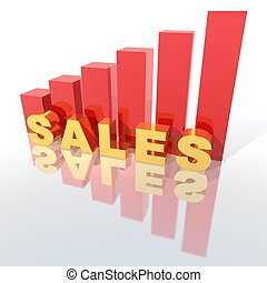 sales increase - a 3d rendering to illustrate sales increase