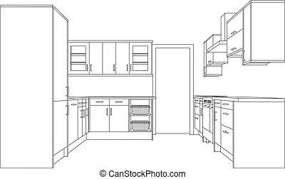 Drawing of a Fitted Kitchen - A 3d Single Point Perspective ...