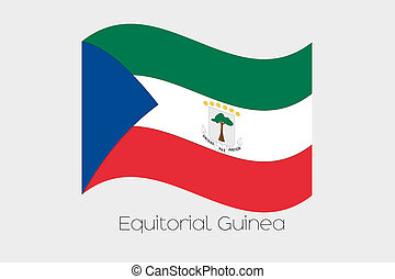 3D Waving Flag Illustration of the country of Equitorial Guinea
