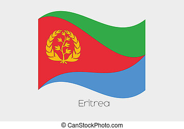 3D Waving Flag Illustration of the country of Eritrea
