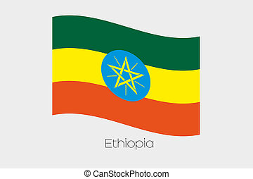 3D Waving Flag Illustration of the country of Ethiopia