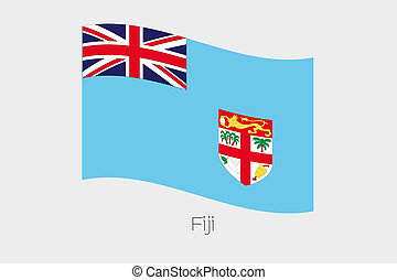 3D Waving Flag Illustration of the country of Fiji