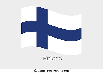 3D Waving Flag Illustration of the country of Finland