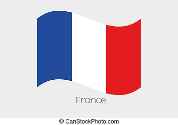 3D Waving Flag Illustration of the country of France