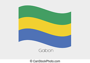 3D Waving Flag Illustration of the country of Gabon