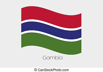 3D Waving Flag Illustration of the country of Gambia