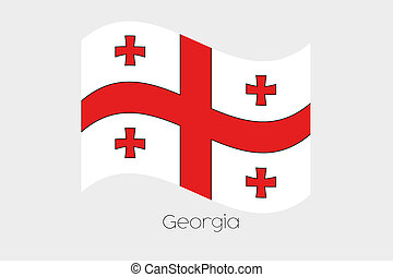 3D Waving Flag Illustration of the country of Georgia