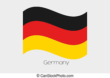 3D Waving Flag Illustration of the country of Germany