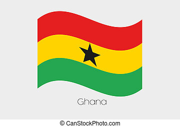 3D Waving Flag Illustration of the country of Ghana