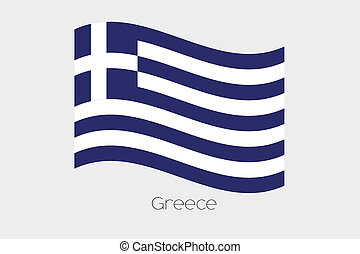 3D Waving Flag Illustration of the country of Greece