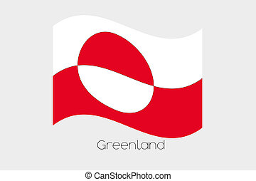 3D Waving Flag Illustration of the country of Greenland