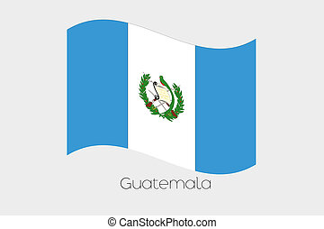 3D Waving Flag Illustration of the country of Guatemala
