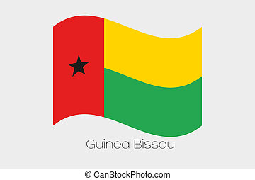 3D Waving Flag Illustration of the country of Guinea Bissau
