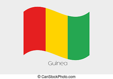 3D Waving Flag Illustration of the country of Guinea