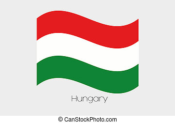 3D Waving Flag Illustration of the country of Hungary