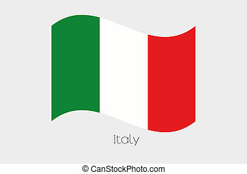 3D Waving Flag Illustration of the country of Italy