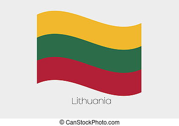 3D Waving Flag Illustration of the country of Lithuania - A ...