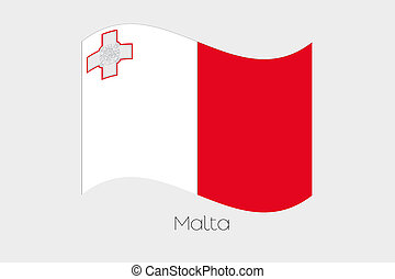 3D Waving Flag Illustration of the country of Malta
