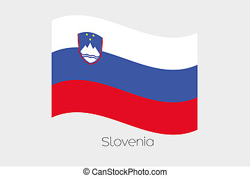 3D Waving Flag Illustration of the country of Slovenia - A ...