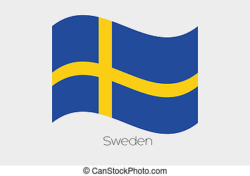 3D Waving Flag Illustration of the country of Sweden