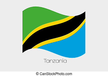 3D Waving Flag Illustration of the country of Tanzania