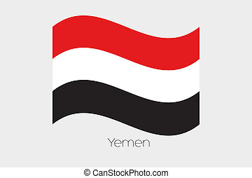 3D Waving Flag Illustration of the country of Yemen - A 3D ...