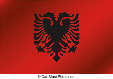 3D Wavy Flag Illustration of the country of Albania
