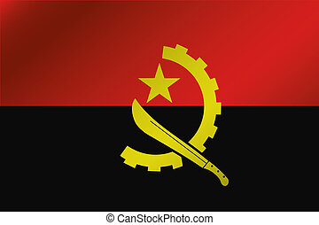 3D Wavy Flag Illustration of the country of Angola