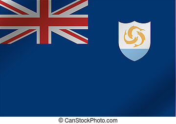 3D Wavy Flag Illustration of the country of Anguilla