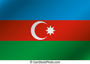 3D Wavy Flag Illustration of the country of Azerbaijan