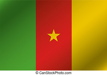 3D Wavy Flag Illustration of the country of Cameroon