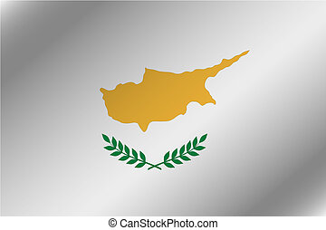 3D Wavy Flag Illustration of the country of Cyprus