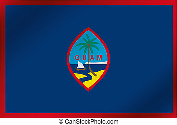 3D Wavy Flag Illustration of the country of Guam