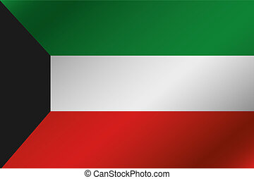 3D Wavy Flag Illustration of the country of Kuwait