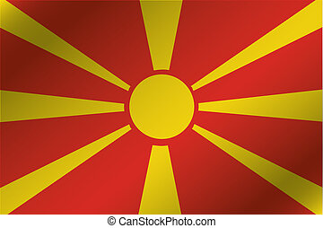 3D Wavy Flag Illustration of the country of Macedonia