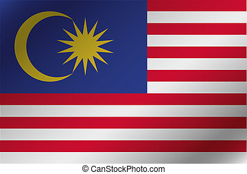 3D Wavy Flag Illustration of the country of Malaysia