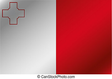 3D Wavy Flag Illustration of the country of Malta