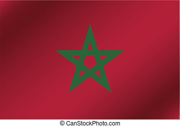 3D Wavy Flag Illustration of the country of Morocco